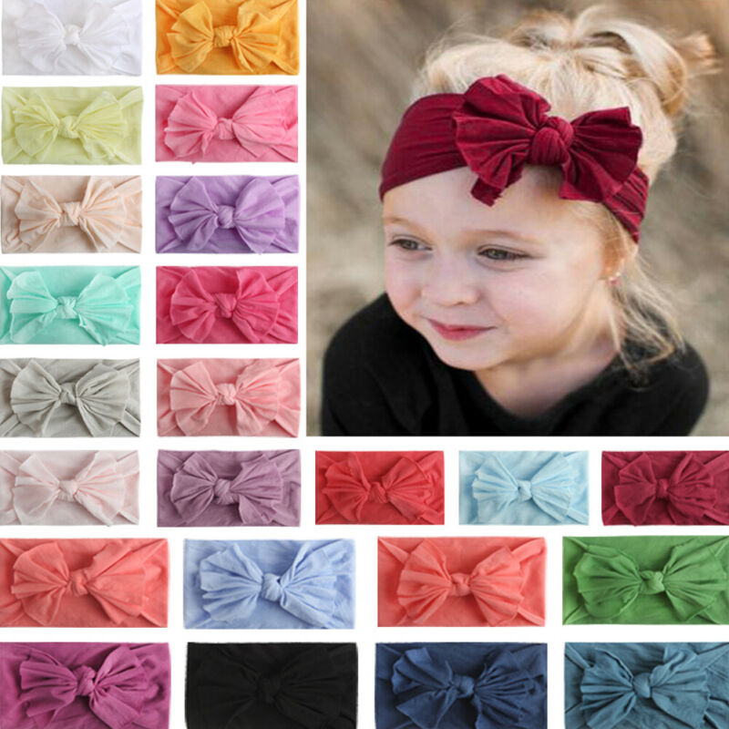 23Colors Bowknot Headwear Kid Girl Baby Headband Toddler Lace Bow Flower Hair Band Candy Color Accessories Headwear Accessories