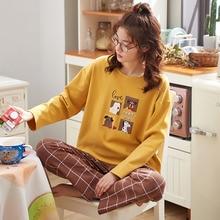 Autumn and winter cotton Pullover long sleeve Pajamas Set Long Sleeve Sleepwear Womens