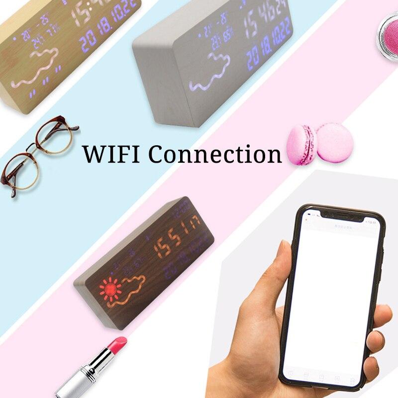 Réveil intelligent numérique électronique prévision météo commande vocale thermomètre hygromètre Wifi connexion Led silencieux Snooze - 3