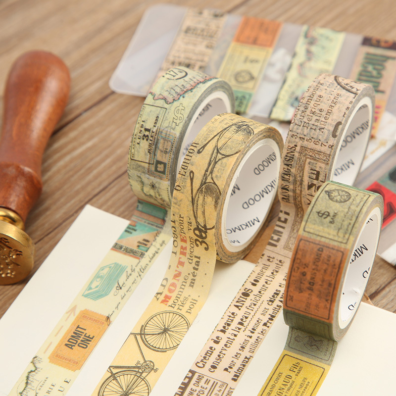 15mm*7m Retro Series Bullet Journal Washi Tape Adhesive Tape DIY Scrapbooking Sticker Label Masking Tape