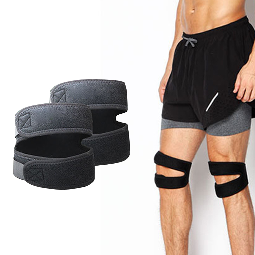 Black Soft Adjustable Nylon Protective Fitness Knee Support Elastic Sports Pain Relief Patella Belt