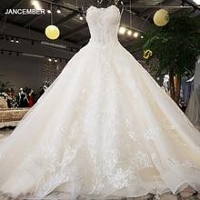 LS74521 יוקרה חתונה שמלות 2020 סטרפלס עם שרוולים תחרה עד בחזרה כדור שמלת ואגלי תמונות אמיתיות