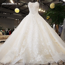 LS74521 Luxury Wedding Dresses 2020 Strapless Sleeveless Lace Up Backless Ball Gown Beading Real Photos