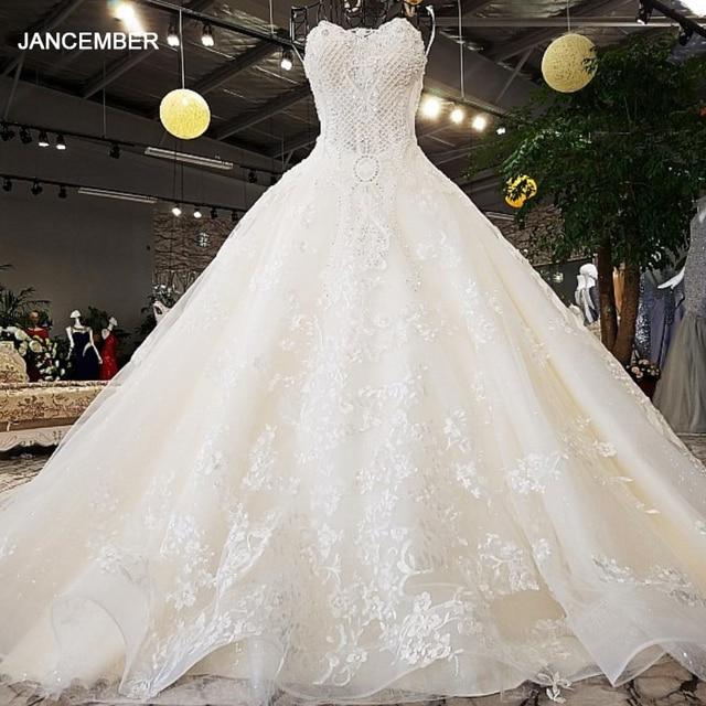 LS74521 vestidos de boda de lujo, sin tirantes, con encaje, sin mangas, espalda, con cuentas, fotos reales, 2020