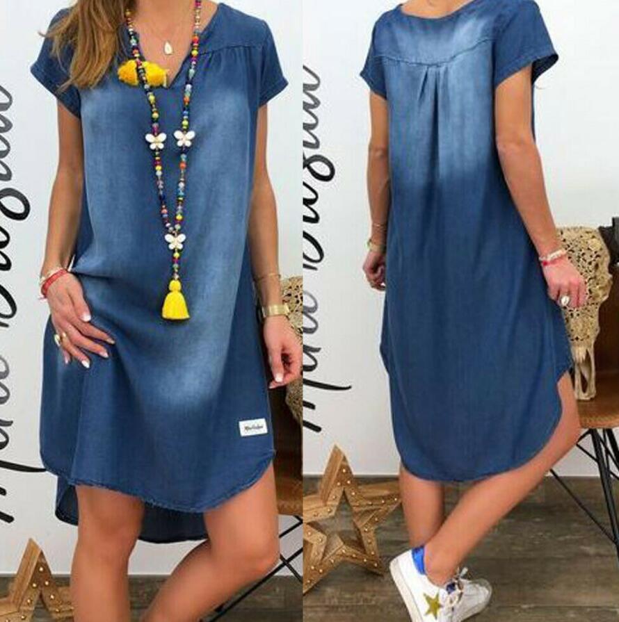 2019 Women V Collar Pullover Short Sleeve Denim Dress Plus Size Dress Casual Dress Vestidos