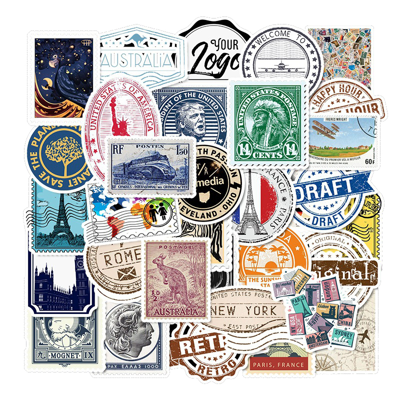 50PCS Retro Travel Stamp Stickers Waterproof Refrigerator Decoration Mixed Decals For MacBook/HP Computer Graffiti Sticker