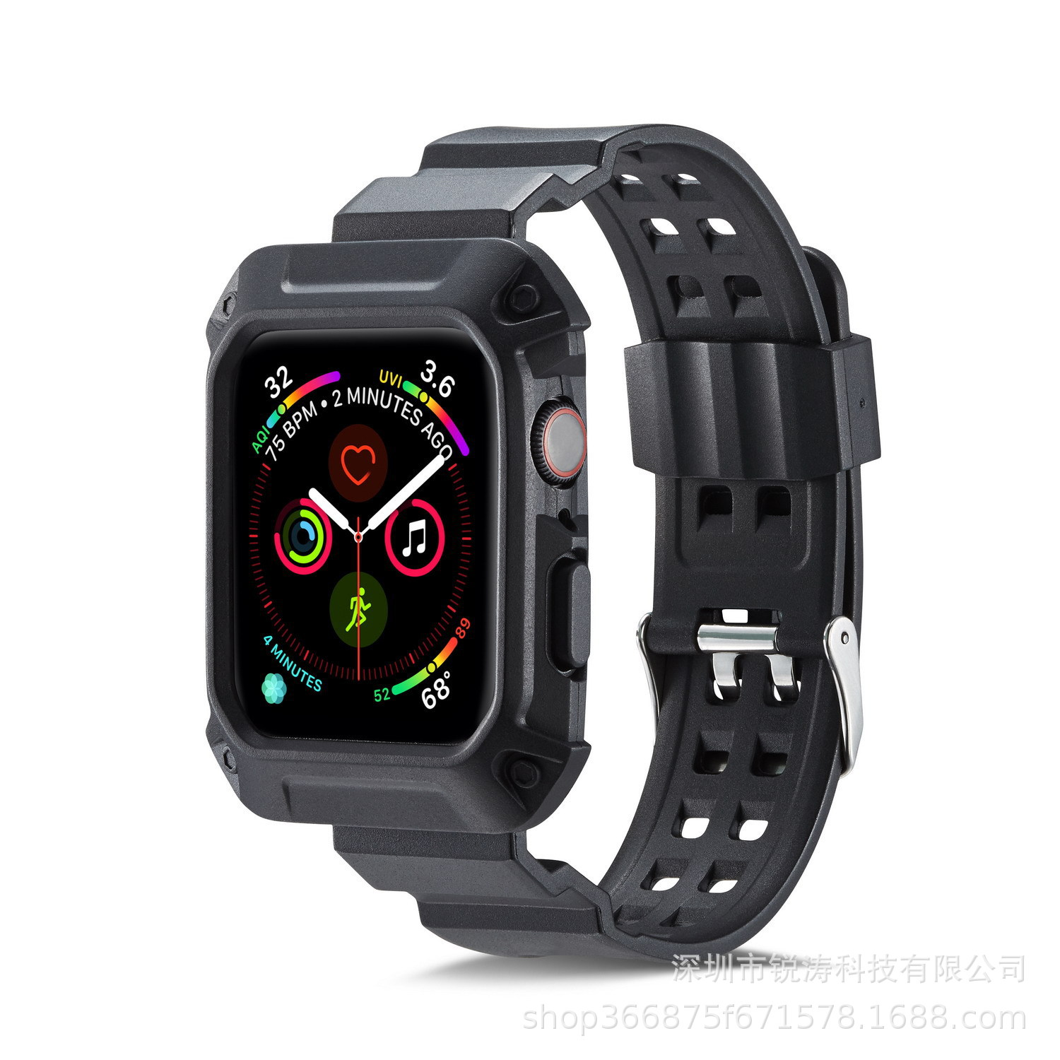 Applicable APPLE Watch4 One-piece TPU Watch Strap 40 Mm Silica Gel One-piece Shatter-resistant Sports 44 Size Armor Watch Strap