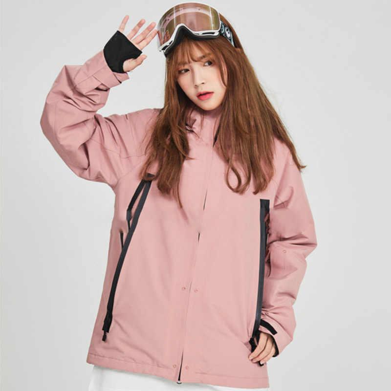 ملابس التزلج الشتاء موضة الوردي التزلج الدعاوى للرجال والنساء حفظ الدافئة Cold سترة تزلج مقاوم للماء على الجليد معطف متعدد الألوان
