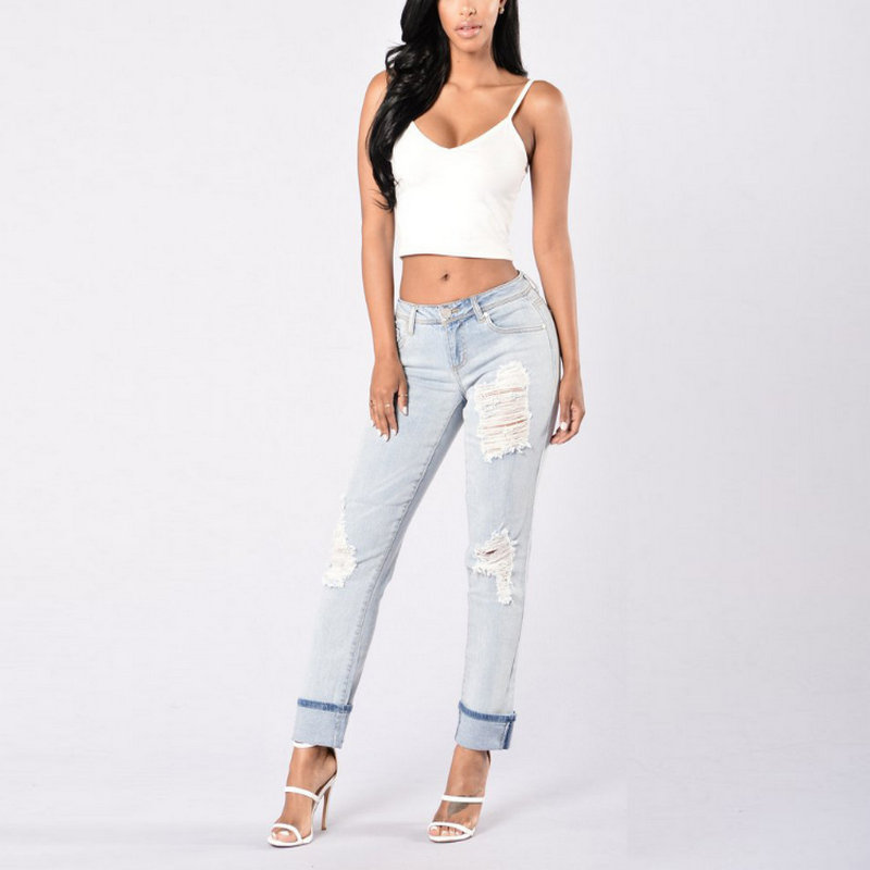 2020 Holiday Young Style Woman Solid Woman Pencil Jeans Sexy  Ripped Pants 1053