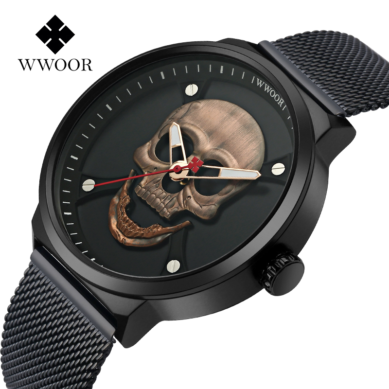 WWOOR Top Brand New Fashion Trend Skull Quartz Men Watch Mesh Band Stainless Steel Waterproof Casual Wrist Watch Men Clock Gifts