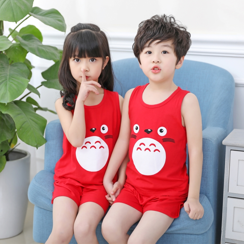 Children Summer Clothing Set For Boys Girls Vest Tops + Short Pants Shorts Cartoon Totoro Prints Cotton Kids Vests T-shirt Tees