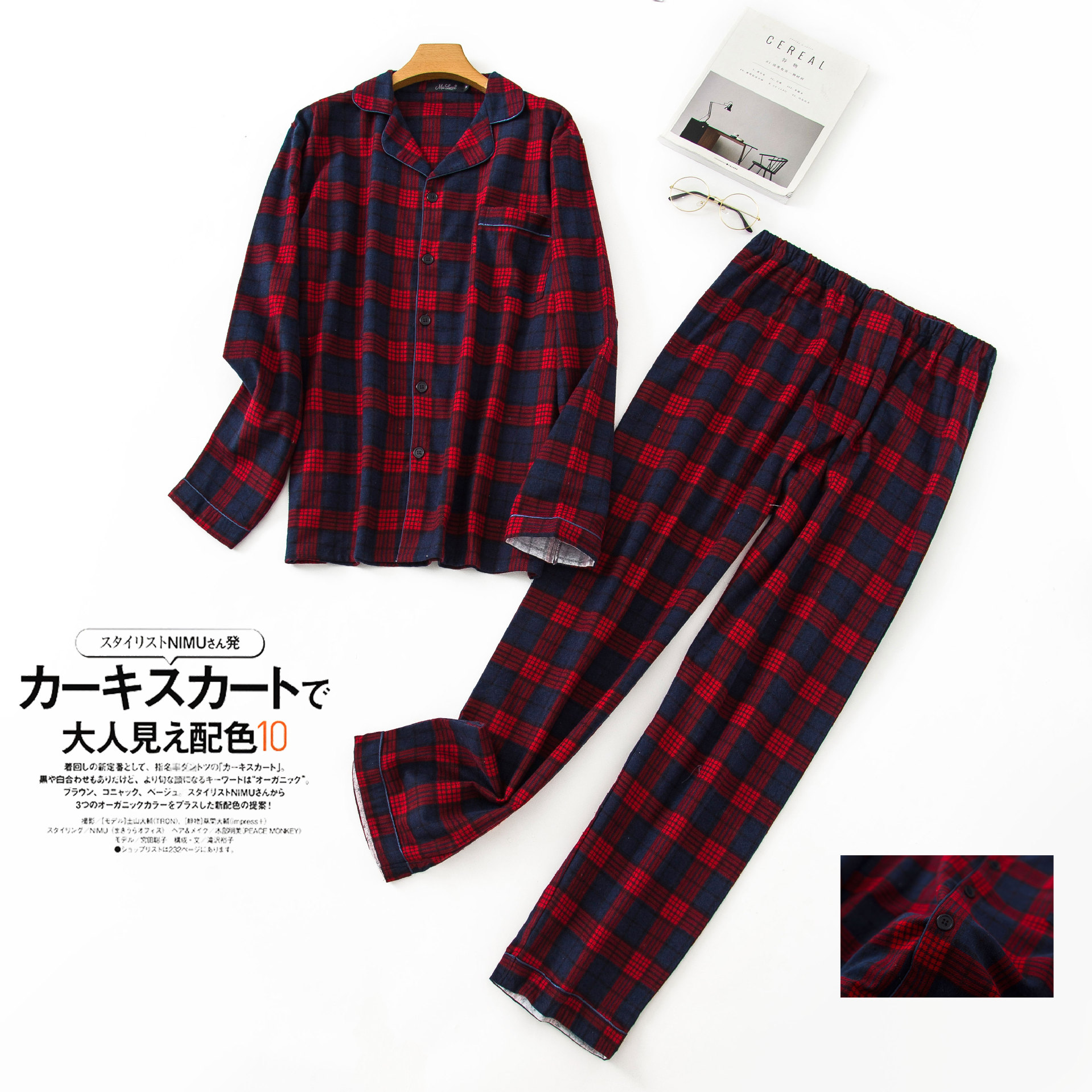 New Cotton Mens Winter Plaid Long Sleeve Pants Flannelette Pajamas Set Men Sleepwear Keep Warm Flannel Nightgown Couple Set