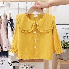 Girls Blouses Shirts Tops Collar Spring Ruffles Kids Flare-Sleeve Cotton Tee Autumn Camisa