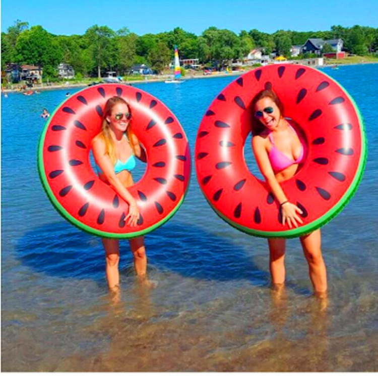 Inflatable Swimming Ring 60/70/80/90CM Watermelon Style Adult Kids Inflatable Pool Float Circle Water Beach Fun Toy