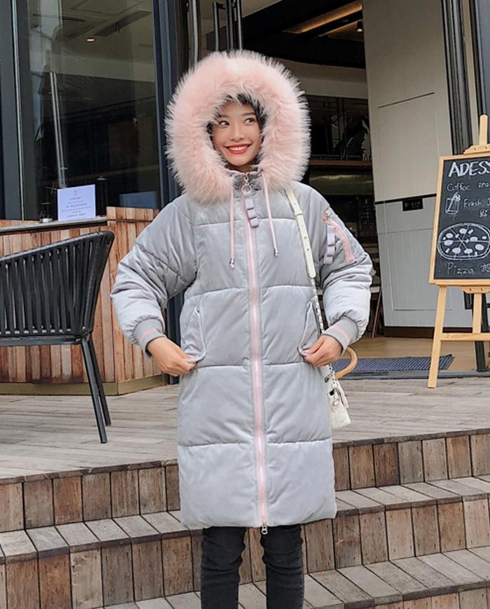 2019 High Quality Winter Jacket Women Velvet Fabric Hooded Thicken Fur_B2_13