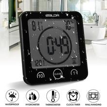 Waterproof LCD Digital Wall Clock Shower Suction Wall Stand Alarm Timer Temperature Humidity Bath Weather Station for Home