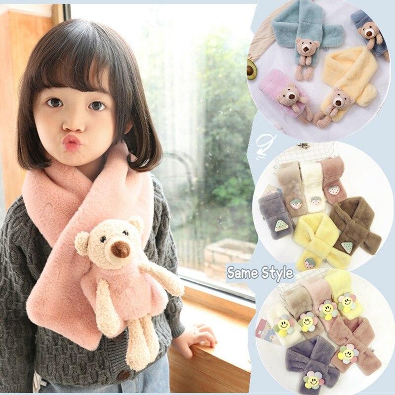 Outono inverno crianças cachecol meninas presentes adultos cachecol de pelúcia imitação coelho snood moda bonito dos desenhos animados urso cruz cachecol