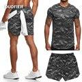 Комплект одежды мужской летний из 2 предметов, легкая уличная спортивная одежда с коротким рукавом для фитнеса