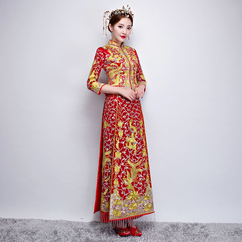 Luxury Women Royal Red Chinese Wedding Dress Mandarin Collar Embroidery Cheongsam Oriental Dragon Phoenix Qipao Oversize 3XL