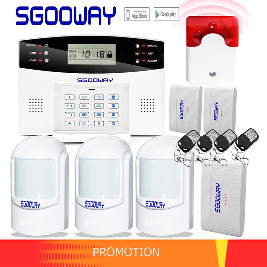 Free Shipping Sgooway Wireless Home Security GSM Alarm System Remote Control Auto Dial Smoke PIR Door Sensor Siren Sensor Kit