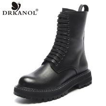 Boots Motorcycle-Boots Mid-Calf DRKANOL Women Heel Flat Winter Fashion Handmade Warm