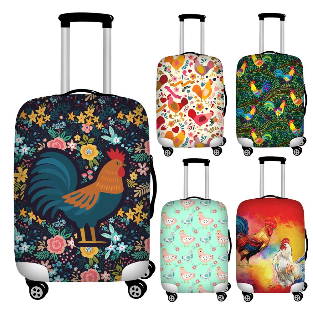 Twoheartsgirl Colorful Chicken Print Travel Luggage Protective Dust Cover Waterproof Suitcase Protector To 18-32inch Trunk Case