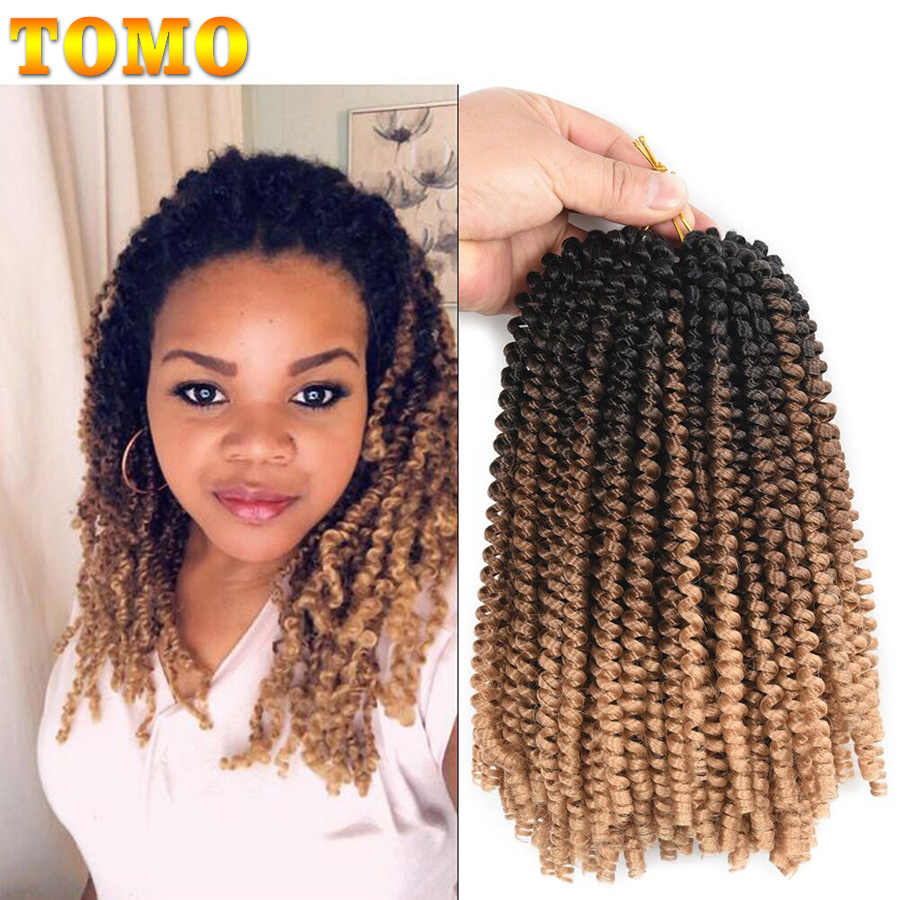 TOMO Fluffy Spring Twist Hair Extensions Black Brown Burgundy 8 Inch Ombre Crochet Braids Passion Twist Synthetic Braiding Hair