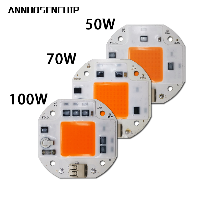 220V 110V Plant Growth Lamp 100W 70W 50W Welding Free LED COB Chip For Plant Growth Tent Indoor LED Full Spectrum Plant Lights