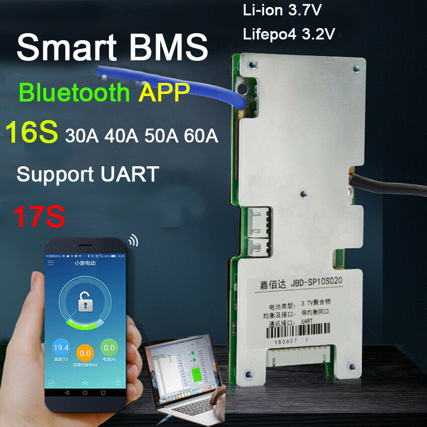 Smart BMS 17S 16S 60A 40A 30A 60V 48V Lifepo4 Li-ion Lithium Battery Protection Board Balance BMS Liion Bluetooth APP PC Monitor
