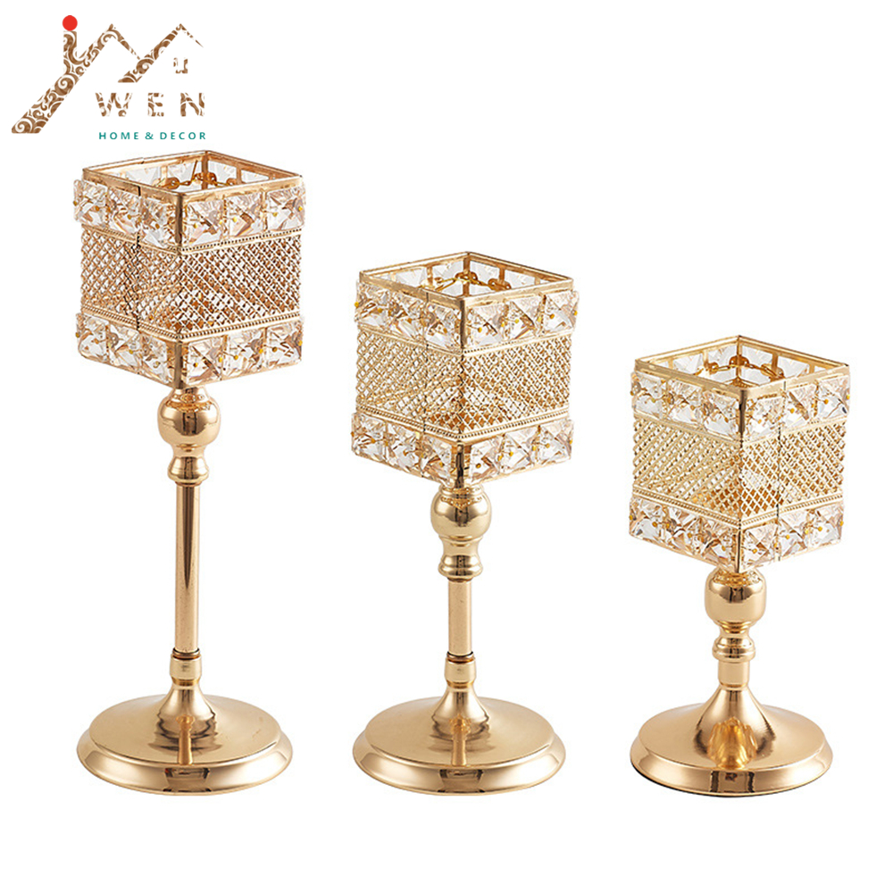 Metalni držač za svijeće Kristali za svijeće Stalak za vjenčanje - Kućni dekor - Foto 1
