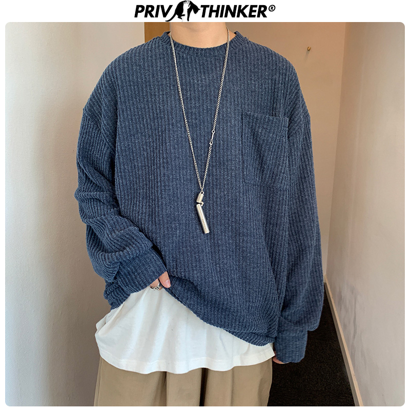 Privathinker Men's O-Neck Simple Style Loose Sweater 2019 Men Autumn Pullovers Tops Male Solid Knitted Sweaters Fashion Clothes