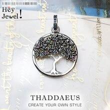Pendentif arbre coloré, 2020 bijoux fantaisie Europe 925 argent Sterling bohême Nature cadeau pour femme promet un avenir heureux