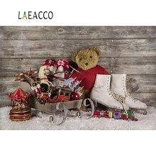 Laeacco Christmas Backdrop For Photography Sledge Baby Toys Skate Shoe Teddy Bear Wooden Wall Snow Photo Photocall
