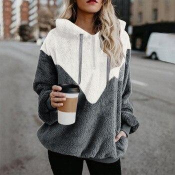 Sweatshirt Women Winter Warm Fluffy Plush 2021 Hooded Patchwork Wool Zipper Pockets Cotton Outwear