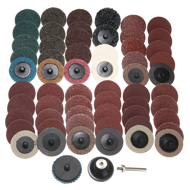 61Pcs Sanding Discs Pad Polishing Sandpaper Kit 2 Inch Roloc Sanding Discs Fine Medium Coarse Assorted Set With Grinding Wheels