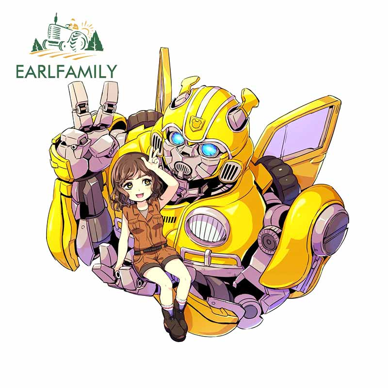 EARLFAMILY 13cm x 12.6cm for Bumper Transformers Bumblebee Cute Girl VAN Car Stickers Decoration Motorcycle Refrigerator Decals