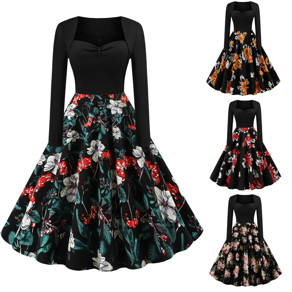 2020 ropa mujer vestido mujer women dress Floral Printed Long Sleeve O-Neck Hollow Out Vintage plus size dress sukienka
