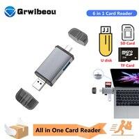 Grwibeou-Lector de tarjetas Micro USB 2,0 tipo C a SD, microSD, adaptador TF, accesorios, OTG, lector de tarjetas de memoria inteligente