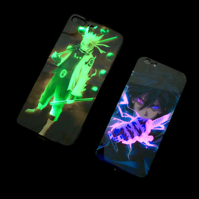 Naruto Sasuke Call Light LED Case For iPhone11 pro 8 7 6 6S Plus Cases Tempered Glass Coque Flash Cover For iPhoneXR X XS MAX 1