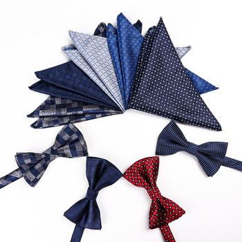 Classic Silk Bow Ties for Men Butterfly Bow Tie Pocket Square Cufflinks Set Blue Grey Red Gold Dot Stripe Plaid luxury Bowtie casual twill stripe pattern tie pocket square bow tie