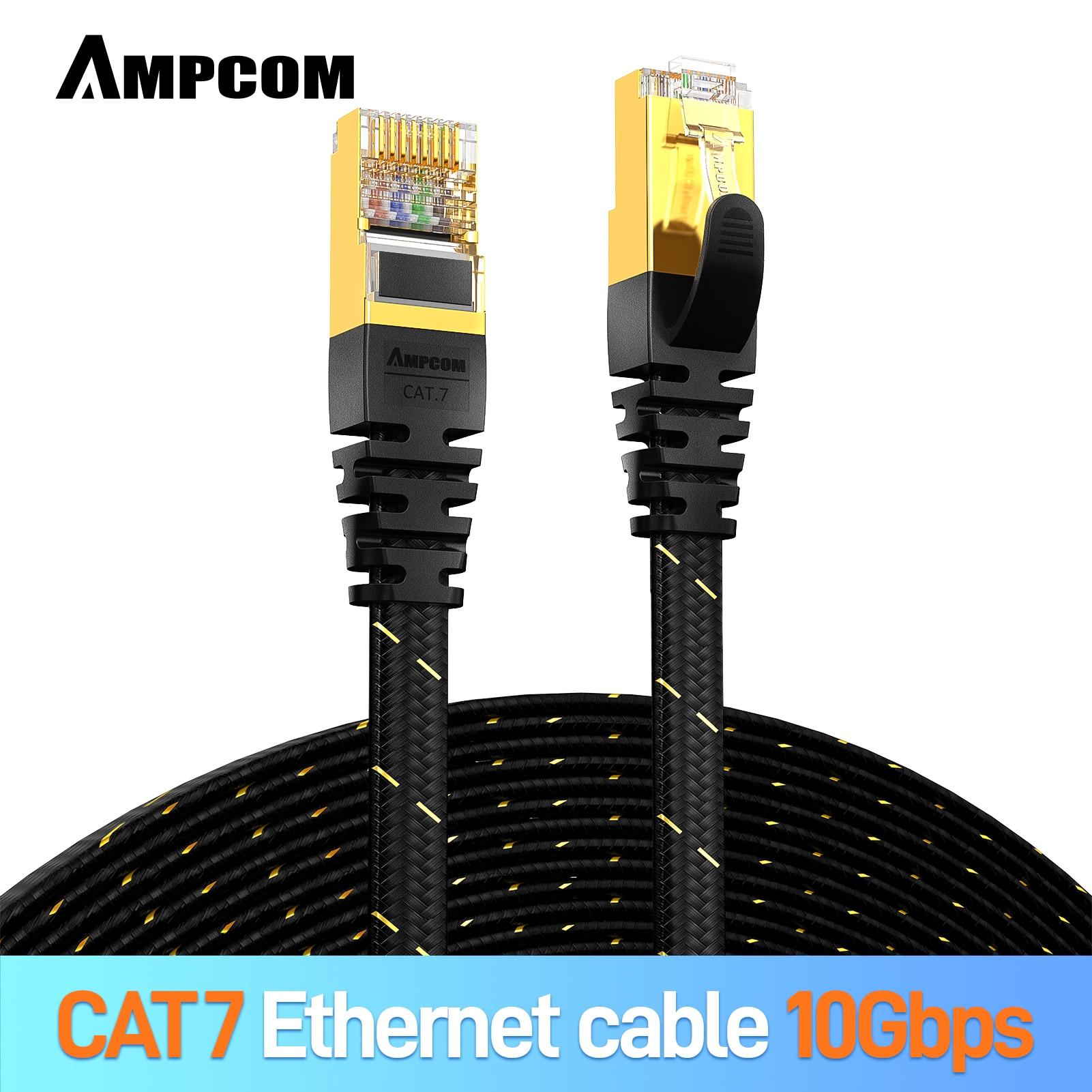 Кабель Ethernet AMPCOM CAT7 (10G 600MHz), экранированный плоский сетевой кабель RJ45 с пачччворк, 50u позолоченный свинец, Полиэстеровая оплетка