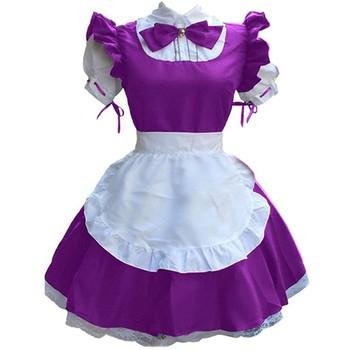 2021 śliczne Lolita Maid kostiumy francuska pokojówka sukienka dziewczyny kobieta Amine przebranie na karnawał kelnerka pokojówka stroje imprezowe akcesoria tanie i dobre opinie CHAMSGEND CN (pochodzenie) Sukienki anime WOMEN Zestawy POLIESTER Cartoon Character Costumes