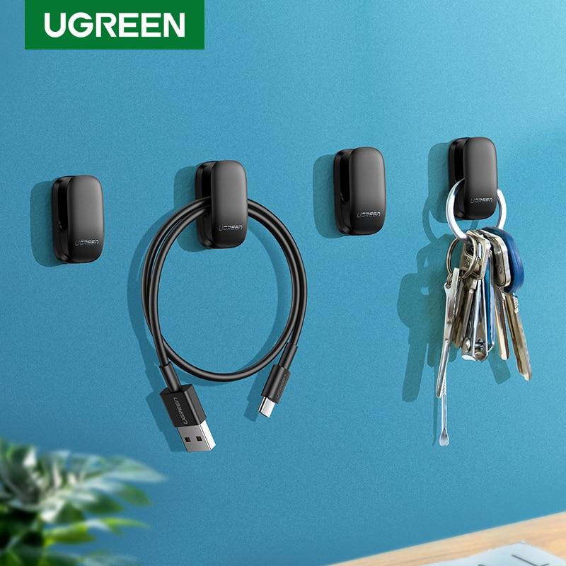 Ugreen Holder Hanger Hook 4pcs Organizer Holder Clip for Key Bag Car Office Headphone Charger Cable Management Car Cable Holder|Phone Holders & Stands| - AliExpress