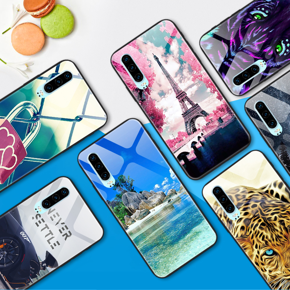 Phone Case for Huawei P30 Lite Pro Tempered Glass Cover for Huawei ELE VOG MAR L29 L04 LX1 P30Pro Luxury Shockproof Hard Shell