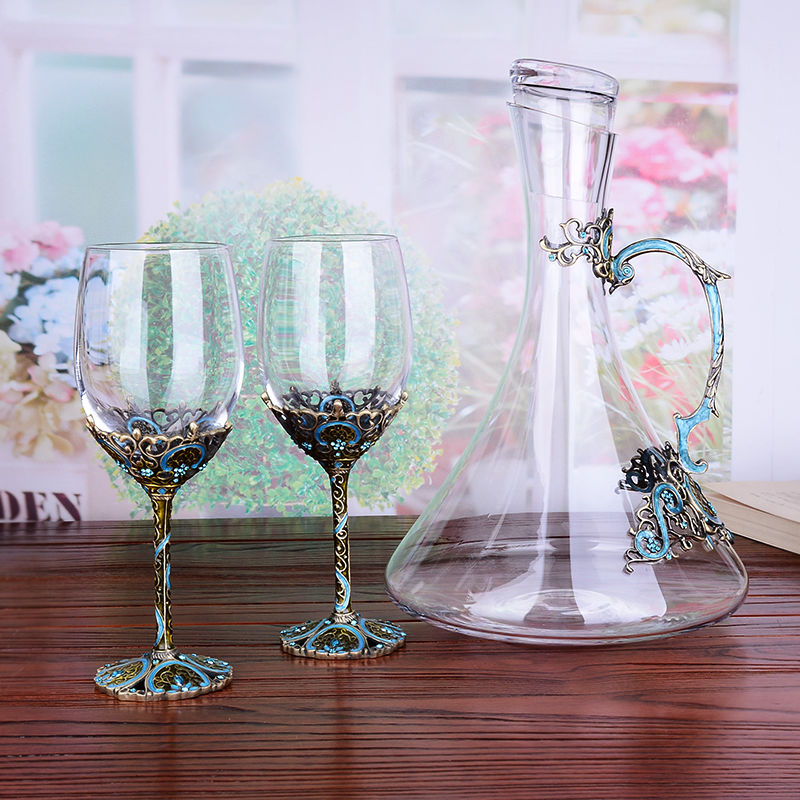 Enamel Metal Red Wine Glass Decanter Set Crystal Goblet Wine Cup Creative Lettering Set Gourd Bottles - 2
