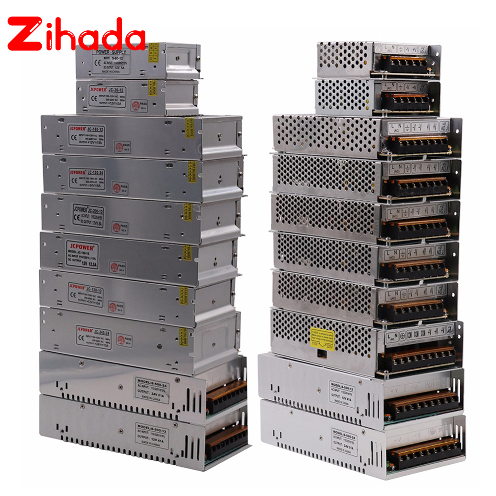 5V 12V 24V 9V 36V zasilanie do taśmy led transformatory oświetleniowe 24W 36W 360W 400W 500W żelazna obudowa przełączania adapter do zasilacza