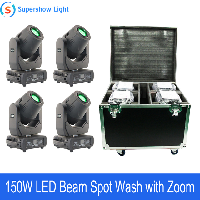 4pcs With Flightcase 150W Beam Spot Wash Moving Head Light Led DMX Stage Light For Wedding Disco DJ Bar