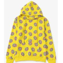 New Arrival Yellow Color Print Floral Embellished Cute Donut Hoodies Man long sleeved Hoodie Sweatshirts Harajuku Clothing Male(China)