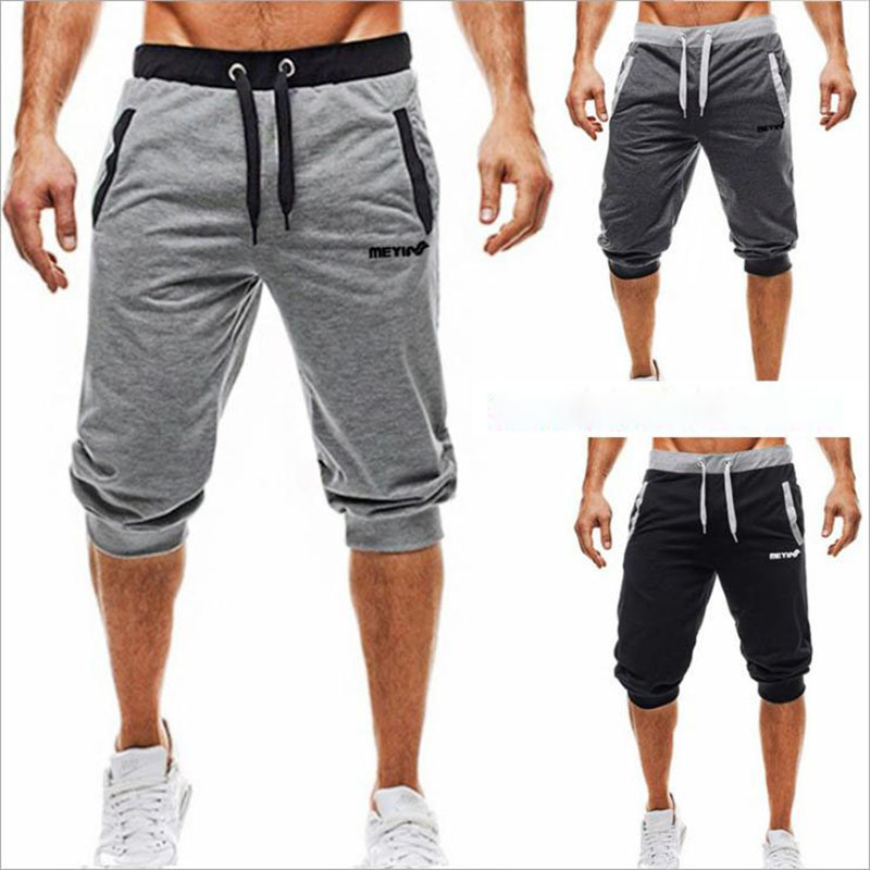 New 2019 Muscle Fit  Buddy Sport Pants Men Breathable Cotton Pantsuits Seven-Minute Sweat Absorbent Slim Fitness Shorts