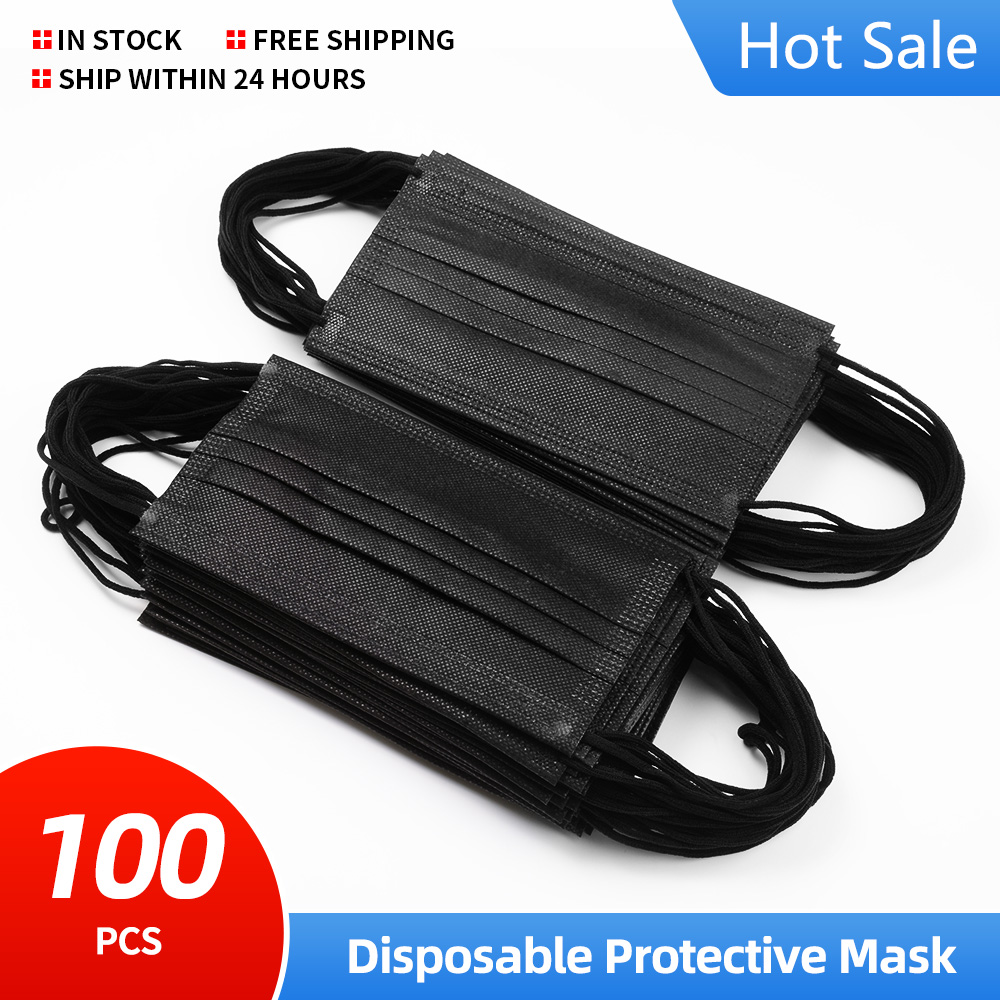 10pcs/50Pcs/100pcs/200pcs Mouth Mask face mask Breathable Earloops Disposable Non wove 3 Layer Ply Filter Mask mouth Black Masks